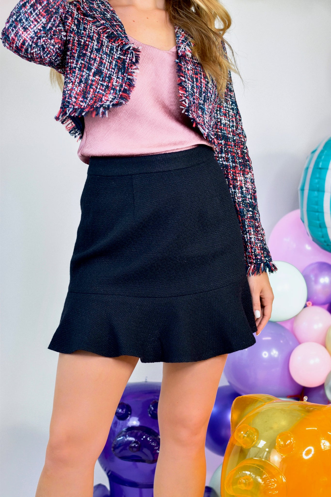 Tweed Ruffle Skirt Black
