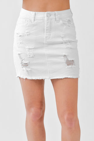Denim Distressed Skirt White