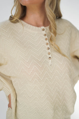 The Hudson 7 Button Henley Sweater Cream