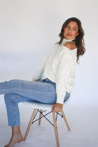 Sneak Peek Open Shoulder Sweater Cream