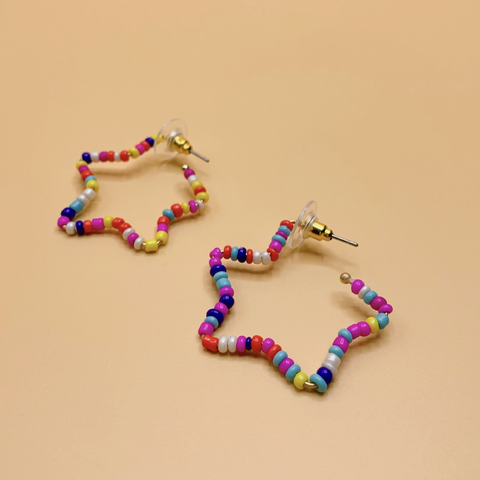 Rainbow Star Beaded Earring