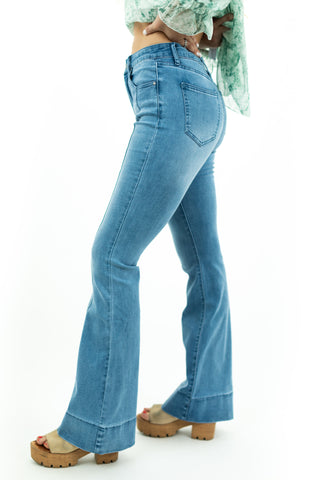 Pintuck Flare Jeans