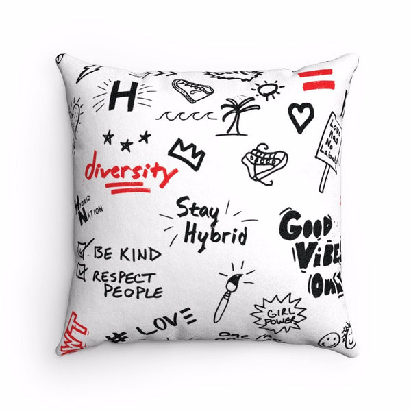 "HYBRID NATION ""SKETCH"" FAUX SUEDE PILLOW"