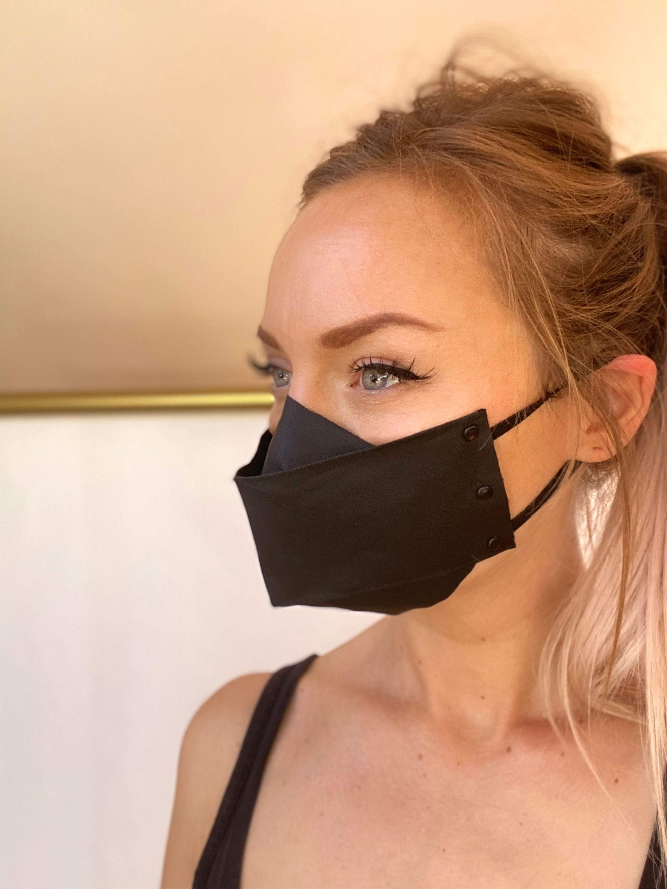 ORIGAMI STYLE FACE MASK // MATTE BLACK HARDWARE