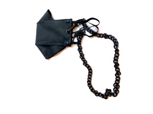 ORIGAMI STYLE FACE MASK WITH DETACHABLE NECK CHAIN // MATTE BLACK HARDWARE