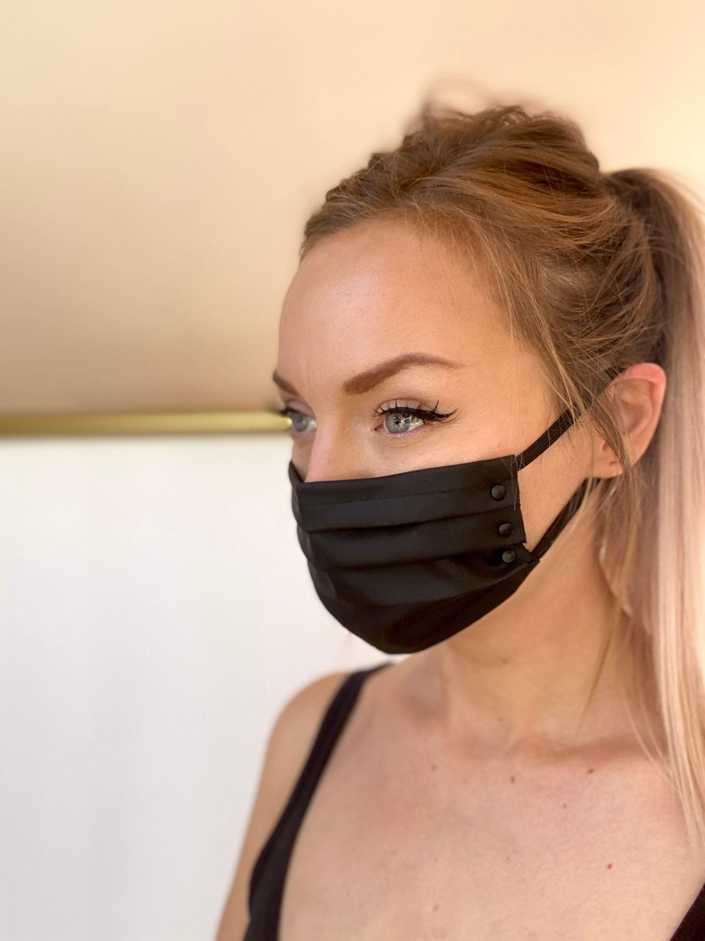 PLEATED FACE MASK // MATTE BLACK HARDWARE