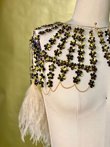 METALLIC OLIVE FLOWER SEQUIN CAPE // IVORY FEATHER