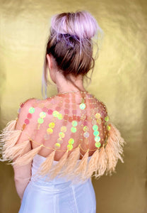 GOLD IRIDESCENT SEQUIN CAPE // GOLD FEATHER