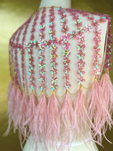 PINK IRIDESCENT FLOWER SEQUIN CAPE // PINK FEATHER