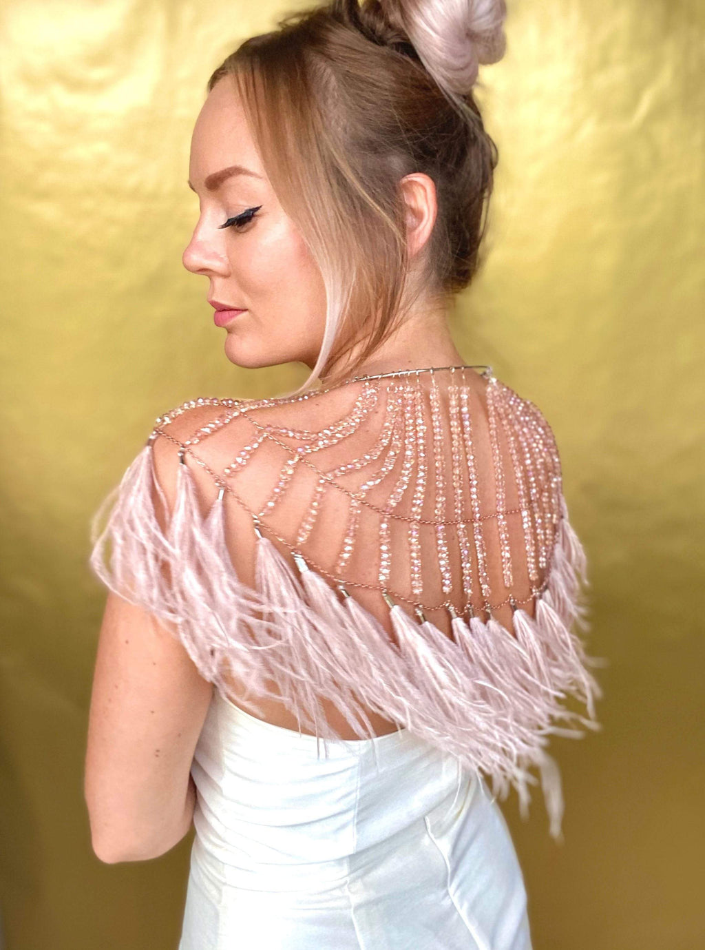 Bridal Wedding and Festival Crystal and Feather Cape