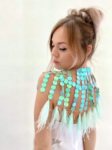 MINT SEQUIN CAPE // MINT FEATHER