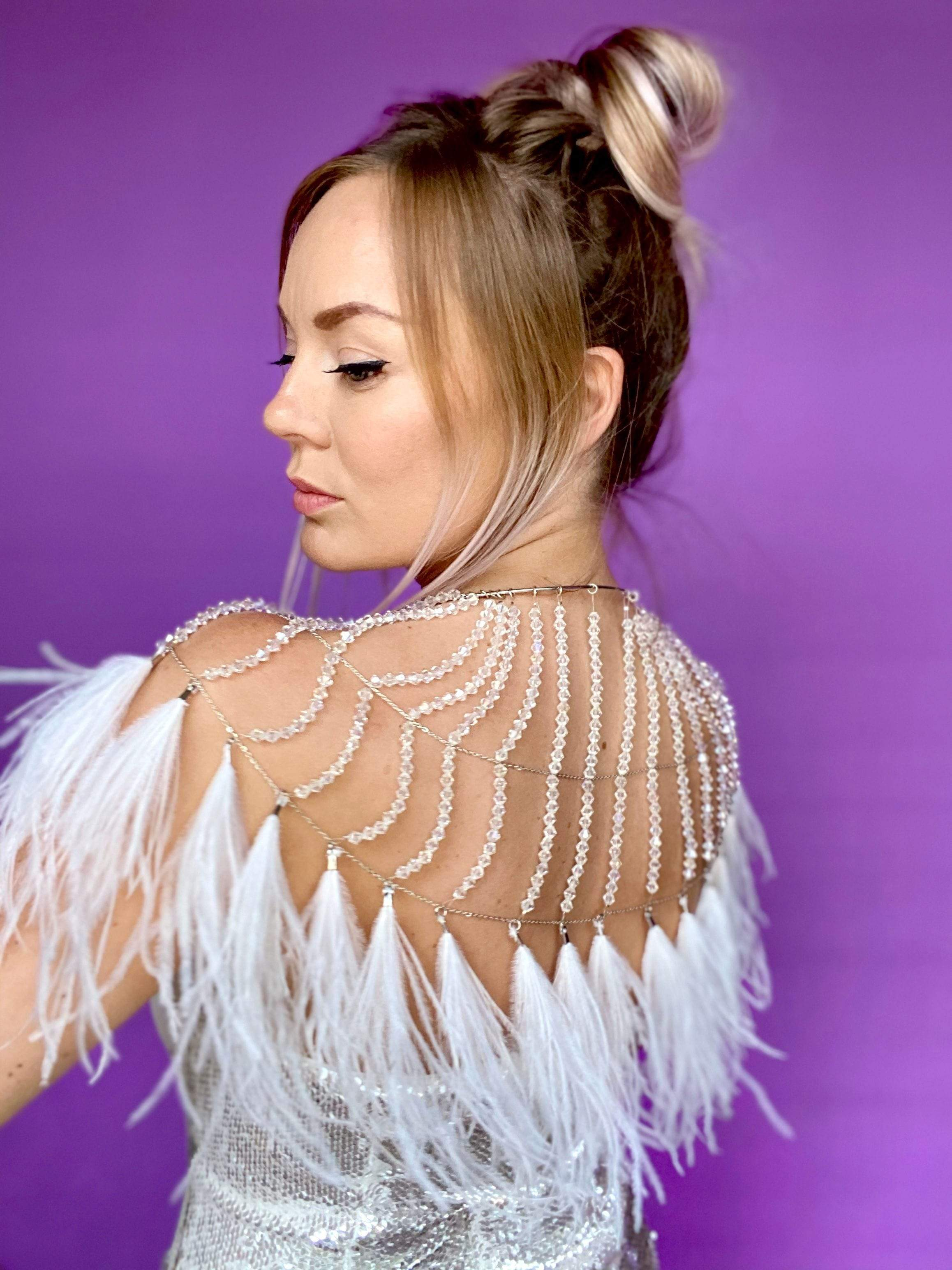 CLEAR CRYSTAL CAPE // WHITE FEATHER