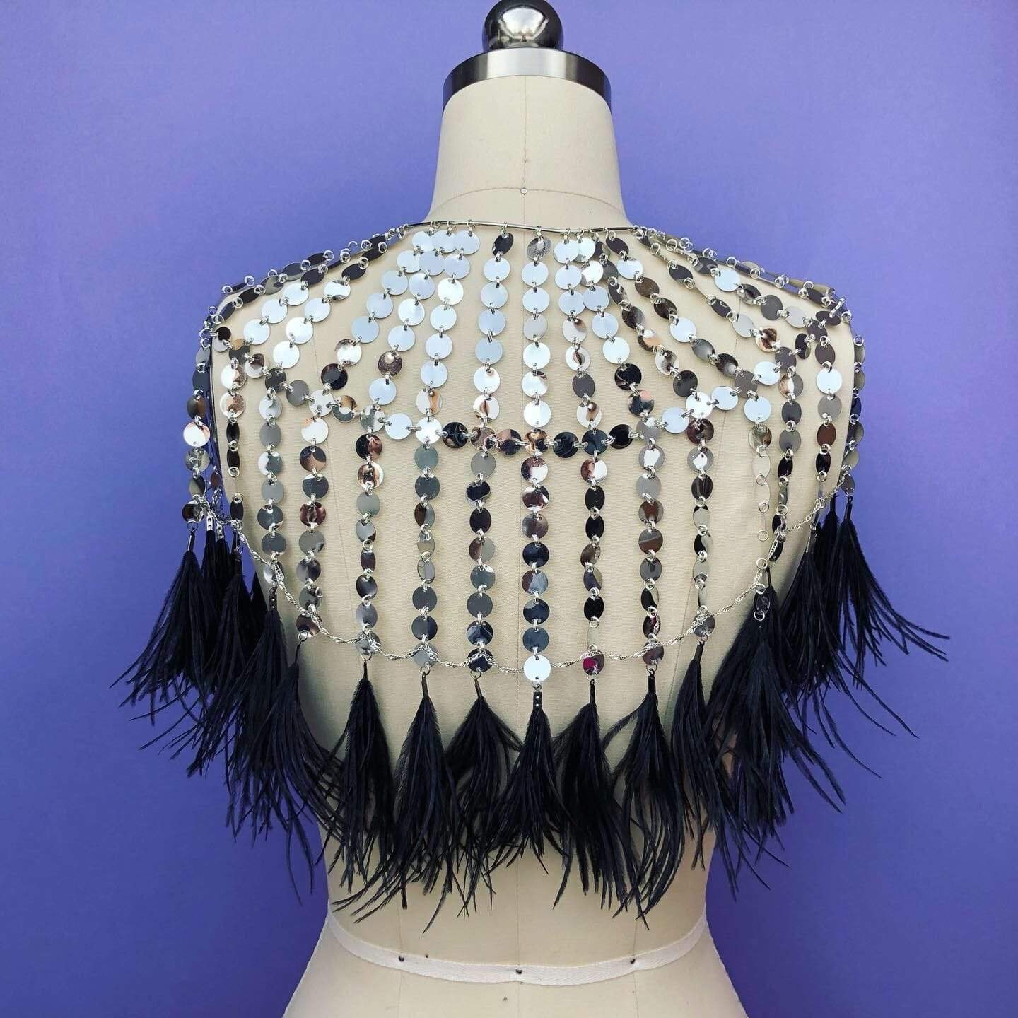 SILVER SEQUIN CAPE // BLACK FEATHER