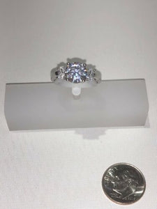Sterling Silver Unique Zirconia Ring Rhodium Engagement Wedding Size 7