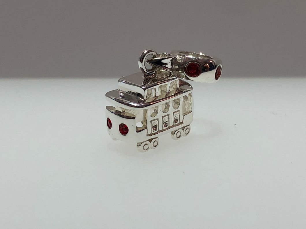 Local Beads Silver Cable Car Dangle Red