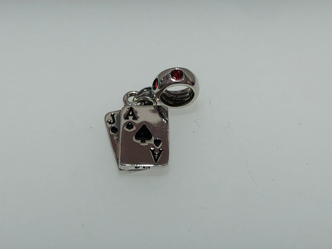 Local Beads Silver Las Vegas Cards Dangle
