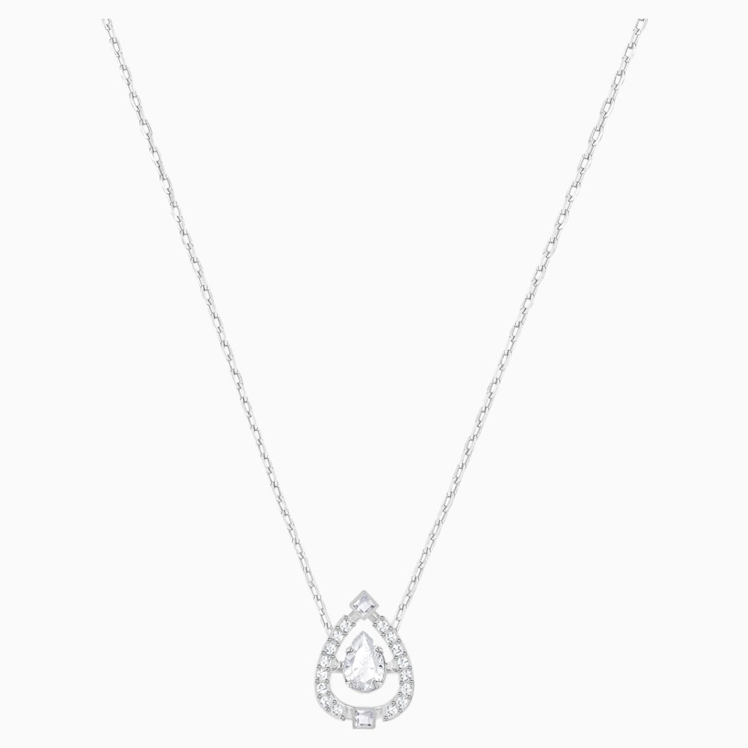 SPARKLING DC:NECKLACE PEAR CZWH/CRY/RHS