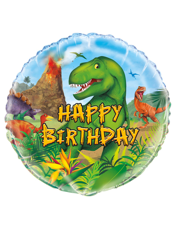 Globo Redondo Dinosaurio Happy Birthday