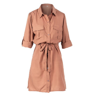 Women Mini Shirt Dress 2019 Casual Spring Autumn Long sleeve Ladies Party Dress Button High Waist Female Dresses Vestidos