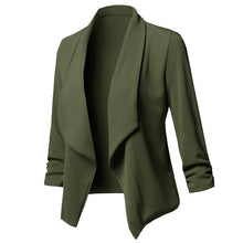 Load image into Gallery viewer, Women Solid Blazers Cardigan Coat 2019 Long Sleeve Female Blazers and Jackets Ruched Asymmetrical Casual Business Suit Outwear