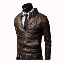Load image into Gallery viewer, Men Faux Leather Jacket Zippers 2019 Men's Stand Collar Coat Spring Autumn Casual Slim PU Jacket Male Moto Biker Coats Outerwear