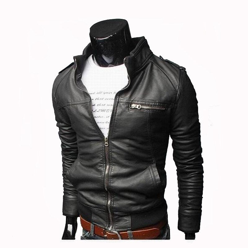Men Faux Leather Jacket Zippers 2019 Men's Stand Collar Coat Spring Autumn Casual Slim PU Jacket Male Moto Biker Coats Outerwear