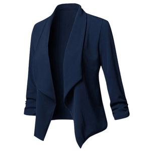 Women Solid Blazers Cardigan Coat 2019 Long Sleeve Female Blazers and Jackets Ruched Asymmetrical Casual Business Suit Outwear