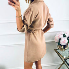Load image into Gallery viewer, Women Mini Shirt Dress 2019 Casual Spring Autumn Long sleeve Ladies Party Dress Button High Waist Female Dresses Vestidos