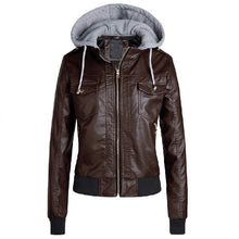 Load image into Gallery viewer, Black Faux Leather Jacket Women Winter 2019 Hoodies Basic Jacket Coat Female Motorcycle Jacket Leather Outerwear Plus Size 3XL