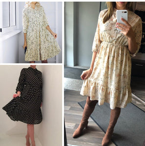 Ladies Chiffon Party Dress Bow Women Full Sleeve White Flower Print Floral High Elastic Waist Bohemian Dress Female Vestido