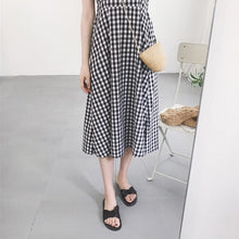 Load image into Gallery viewer, 2018 Casual Plaid Dress Women Cotton Spaghetti Strap Party Summer Dress Female Sexy Sleeveless Pullover Loose Dres Black 50