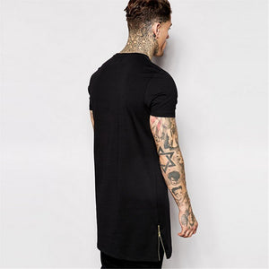 Fashion Men Hip Hop Longline T-Shirts Side Zip Tshirt Male Big and Tall Long T shirt White Black Clothes Streetwear Top Tees 50
