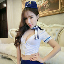 Load image into Gallery viewer, Airline Stewardess Uniform With Hat Porn Women Sexy Lingerie Hot Cosplay Erotic Costumes Role Play Babydoll Air Hostess Set 48