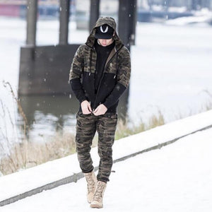 2018 Men Casual Pants Camouflage Print Cotton Pants Drawstring Elastic Waist Pocket Trousers Brand Male Pants Tracksuit 50