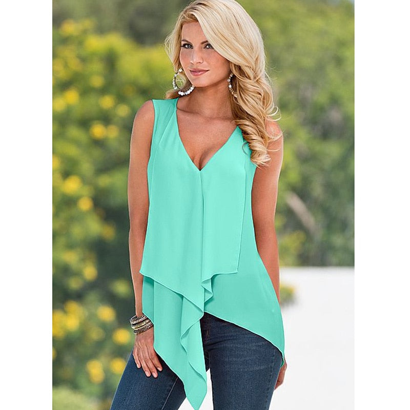 New Womens Tops 2017 Women Summer White Chiffon Blouse Ruffle Sleeveless Blouse Female Casual Shirt Yellow Blue XL 50