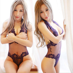 Women Lace Sexy Lingerie Hot Porn Intimates Babysuit Sexy Costumes Female Lace Costumes Deep V-Neck Halter Sex Exotic Apparel 5