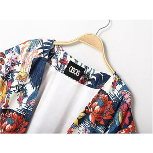 2018 Summer Women Kimono Cardigan Blouse Fashion Cherry blossoms Printing Women Blouses Loose Chiffon Cardigan Shirt Female 50
