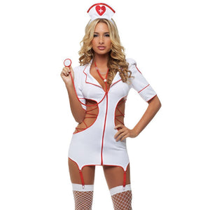 2018 Women Sexy Nurse Costume Hot Erotic Underwear Role Play Games Women Erotic Lingerie Female Sexy Underwear lenceria Uniform (White One Size)