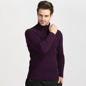 Winter Thick Warm Turtleneck Sweater Men 2019 Casual Knitted Cashmere Pullover Sweater Men Plus Size Slim Red Pullover Men 3XL