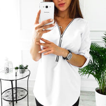 Load image into Gallery viewer, Womens Tops And Blouses 2020 Zipper Short Sleeve White Women Blouse Shirts Sexy Tee Shirts Tops Female Clothes Plus Size 5XL