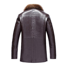 Load image into Gallery viewer, 2018 Winter Fur Men's Leather Jacket Fashion Wool Genuine Leather Jacket Male Warm Overcoats Long Motorcycle Jacket 4XL 5XL 50