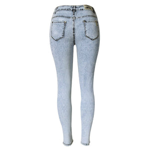 2017 New High Waist Jeans Women Denim Pants Skinny Women Jeans Distressed Washed Stretch Denim Pants Femme Plus Size 2XL 50