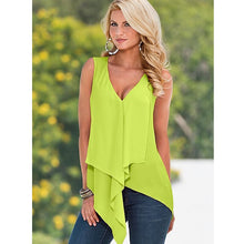 Load image into Gallery viewer, New Womens Tops 2017 Women Summer White Chiffon Blouse Ruffle Sleeveless Blouse Female Casual Shirt Yellow Blue XL 50