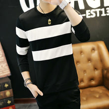 Load image into Gallery viewer, 2019 Black White Striped Sweatshirts Mens Long Sleeve Sweatshirts Slim Fit Male Tracksuit  Pullover Clothing Plus Size 3XL 50
