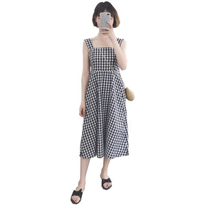 2018 Casual Plaid Dress Women Cotton Spaghetti Strap Party Summer Dress Female Sexy Sleeveless Pullover Loose Dres Black 50