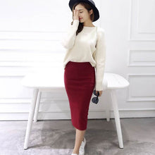Load image into Gallery viewer, Summer Women Skirts Sexy Chic Pencil Skirts 2019 Casual Women Wool Rib Knit Long Package Hip Split Waist Skirt Maxi Red Black