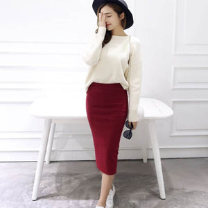 Summer Women Skirts Sexy Chic Pencil Skirts 2019 Casual Women Wool Rib Knit Long Package Hip Split Waist Skirt Maxi Red Black