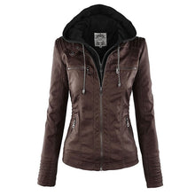 Load image into Gallery viewer, Gothic Faux Leather Jacket Women 2019 Hoodies Winter Autumn Motorcycle Jacket Black Outerwear Faux Leather PU Basic Jacket Coat