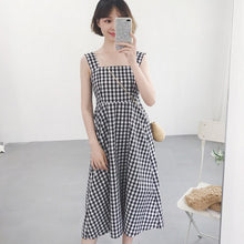 Load image into Gallery viewer, 2018 Casual Plaid Dress Women Cotton Spaghetti Strap Party Summer Dress Female Sexy Sleeveless Pullover Loose Dres Black 50 (Black One Size)
