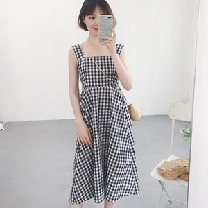 2018 Casual Plaid Dress Women Cotton Spaghetti Strap Party Summer Dress Female Sexy Sleeveless Pullover Loose Dres Black 50 (Black One Size)